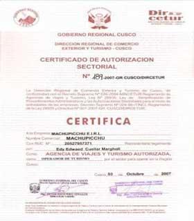 Autorización Dirección de Comercio Exterior y Turismo DIRCETUR