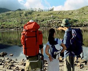 Turistas con el guia