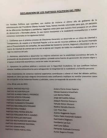 Documento firmado por los partidos políticos
