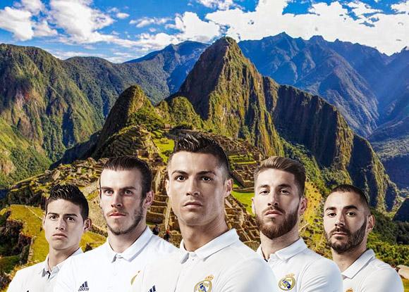 Conta oficial do Real Madrid acima da imagem de Machu Picchu admirar sua grandeza