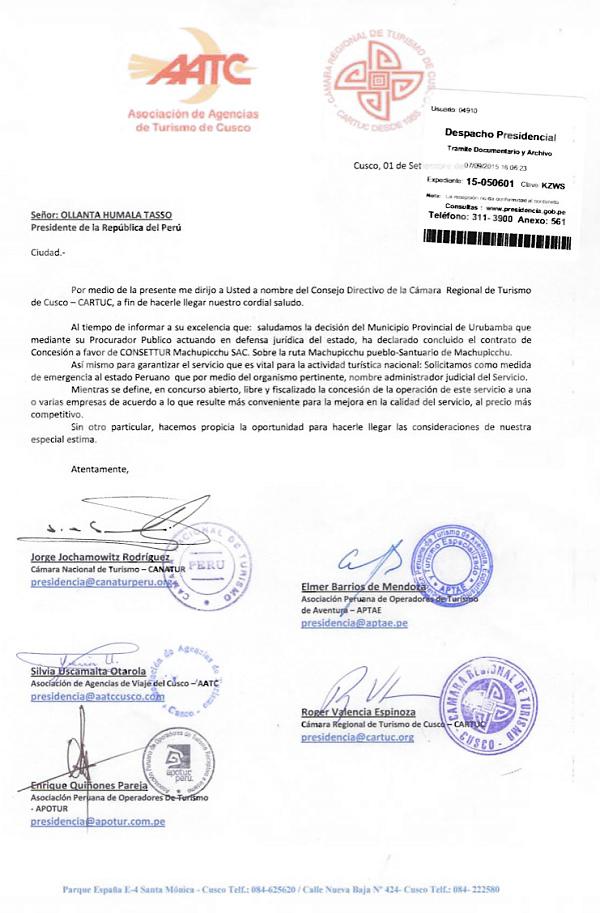 Carta enviada al Presidente de la Republica